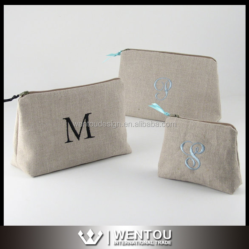 Hot Sale Personalized Monogram Linen Cosmetic Bag
