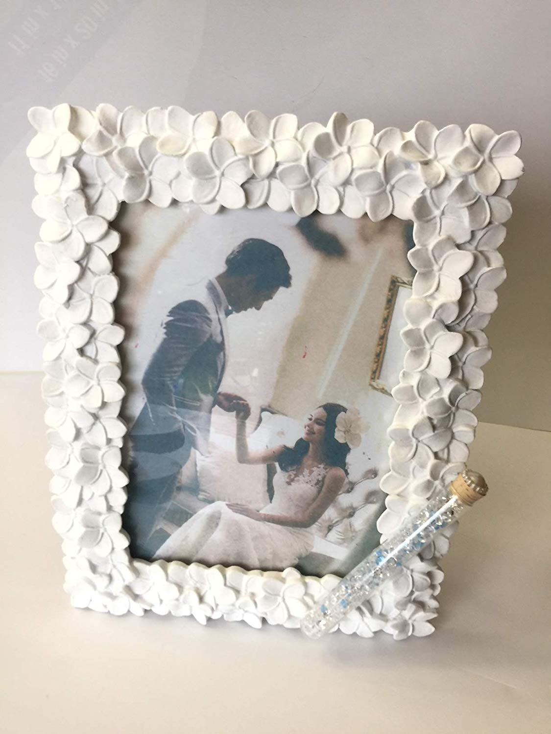 Jewish Wedding White Flowers Photo Picture Frame With a Container for Broken Wedding Glass, 5 x 7 Picture Bridal Shower Or Wedding Gift