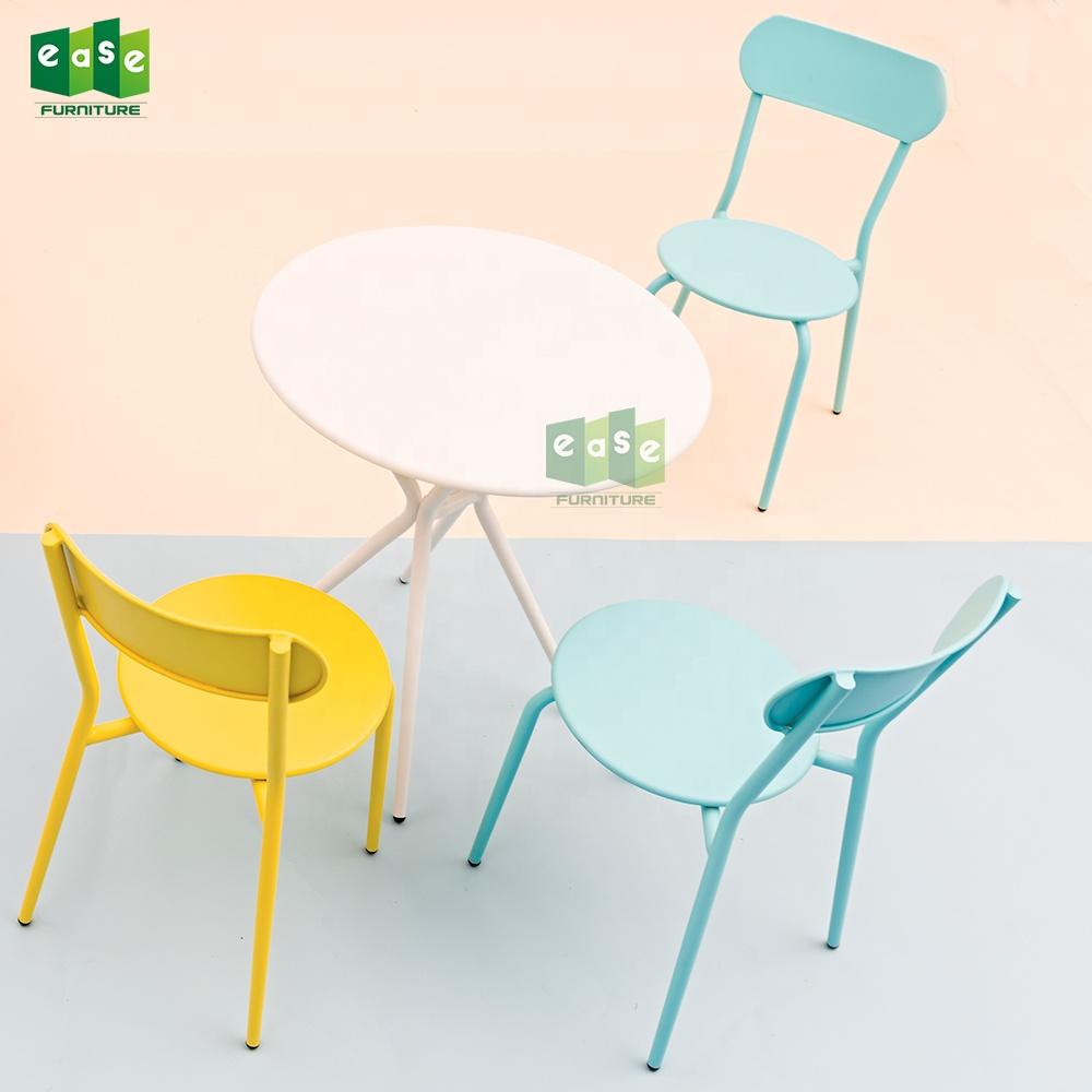 2019 alüminyum metal yemek masası ve sandalye seti istiflenebilir yan sandalye