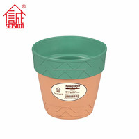 Contemporary Pottery Style Painted Plastic Flower Pot