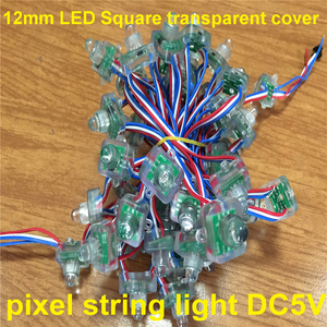 LED square shape transparent cover IC p9813 Square 12mm RGB Pixels LED Waterproof 50pixel/String(CE&RoHS Compliant)
