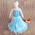2015 Summer New Dress Girl Child Silk Neck Lace Suspenders Round Sequined Cosplay Role Elsa Costume