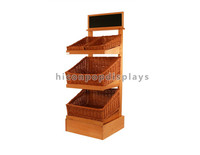 Custom Retail Store Free Design 3-Layer Floor Standing Reliable Wood Fruit And Vegetable Display Units