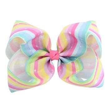 Colorful Rainbow Fabric Bow Hair Clip For Girls