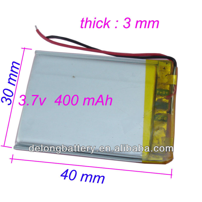 China supplier shenzhen factory OEM 303040 3.7v lipo rc battery 400mah for rc li polymer small helicopter,GPS,MP3,MP4,tools