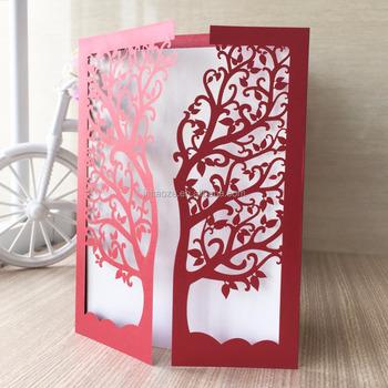 Customized Birthday Greeting Card Wedding Invitation Tree Design Laser Cut
