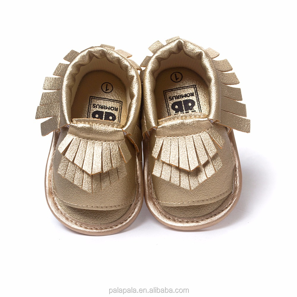 custom logo new summer baby sandals handmade fringe moccasins hard rubber sole baby girls shoes wholesale