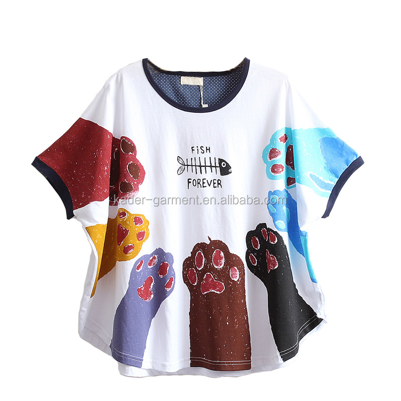Japanese style Fashion girls sublimation printed claw pattern T-shirt