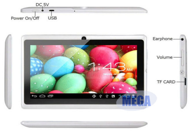 Bright coloured android tablet pc