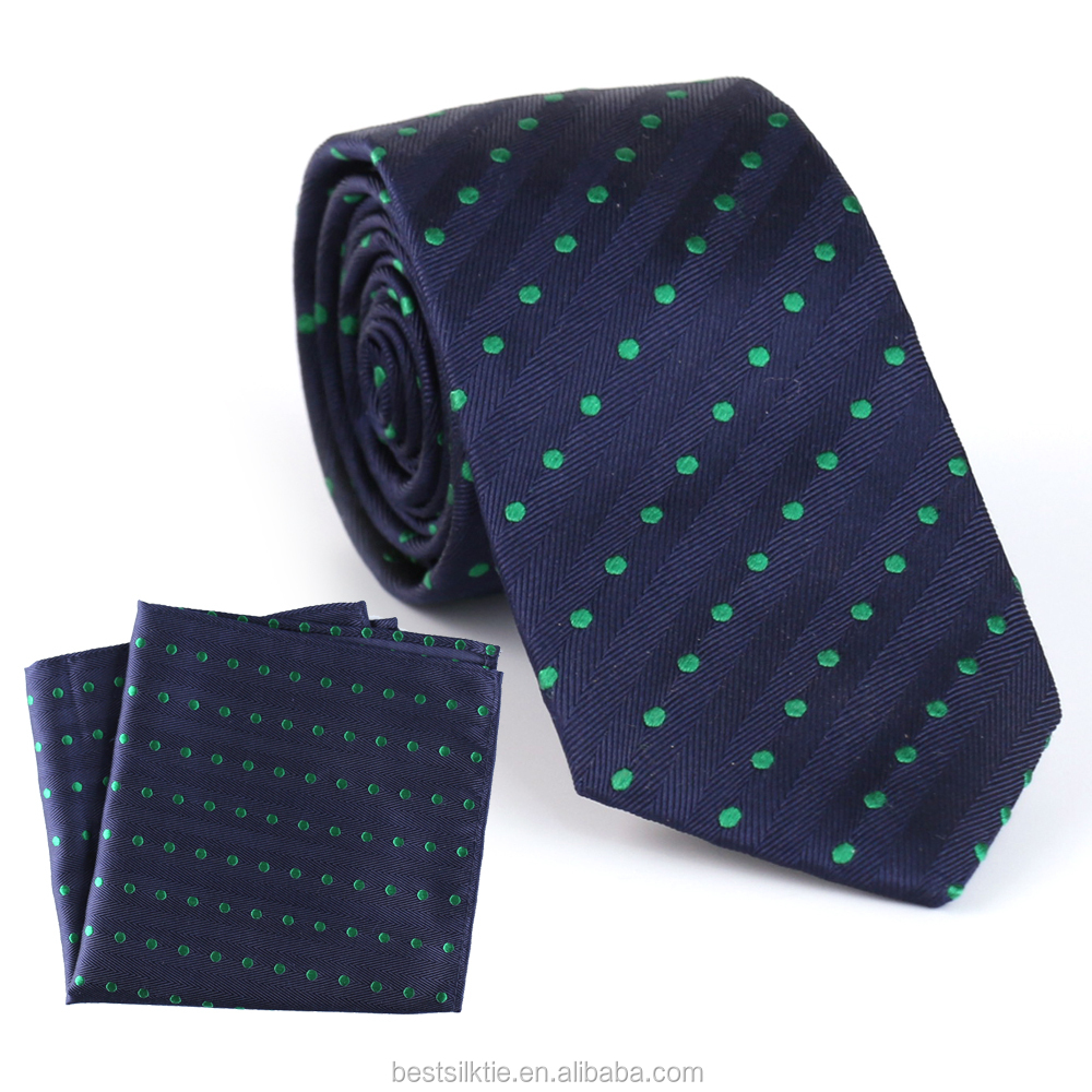 Solid Plain Dyed Yarn Woven Ties Handkerchief Set