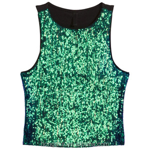 2016 Newest Ladies Sequin Tank Tops Short Glittery Top HST9188