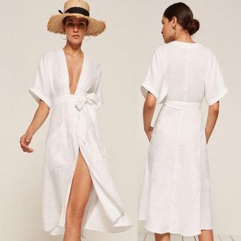 32a48a7073 Mujer manga corta de algodón de lino blanco largo kimono vestido con lazo  de la cintura