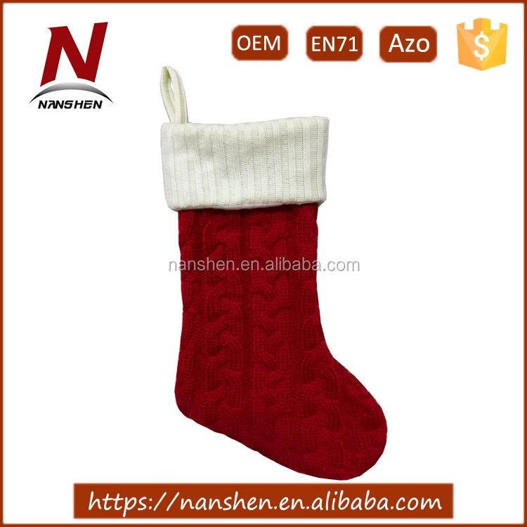"2017 hot sale 20"" polyester woollen stuffed christmas stocking"