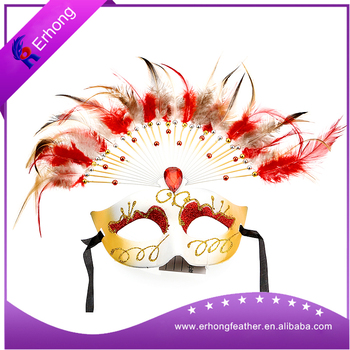 Handmade Chicken Feather Face Mask For Decoration