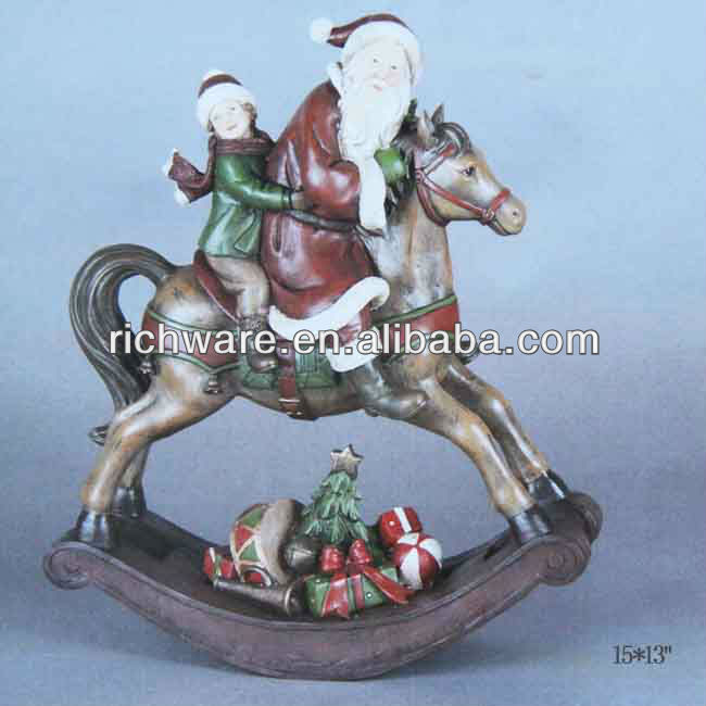 Polyresin Santa & boy on Rocking Horse -wholesale christmas craft supplies