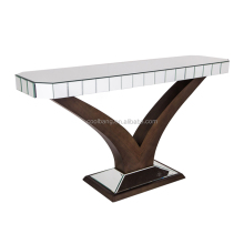 Factory Modern luxury curved glass wood carved bone inlay console table