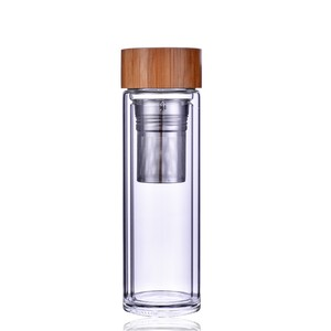 Best flavor double wall borosilicate glass infuser water bottle with bamboo wood lid