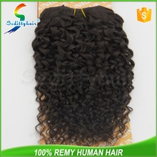 Unique jerry curl 100% human hair extension with tangle free