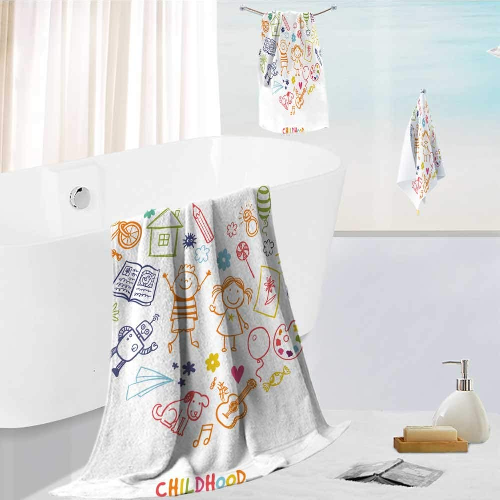 Analisahome Family Big Bath Towel set happy children drawing vector doodle heart Printing Print Bath Towel Super Absorbent Body Wrap Pool Towel