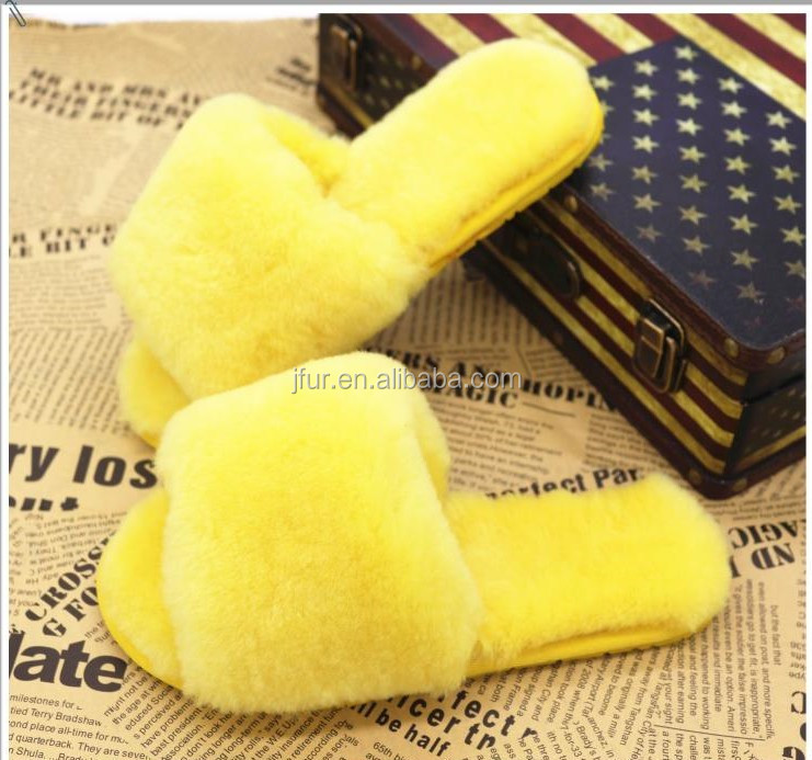 Wholesale Sheepskin Slippers Fur Lined Soft Fur Slippers For Women