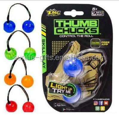 Assorted Colors Thumb Chucks Roll Plastic Fidget Ball With Light