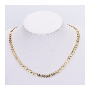 C12128 Guangzhou Manufacturer Italian Designs Chain Jewelry Stylish 14K Gold Plated Necklaces