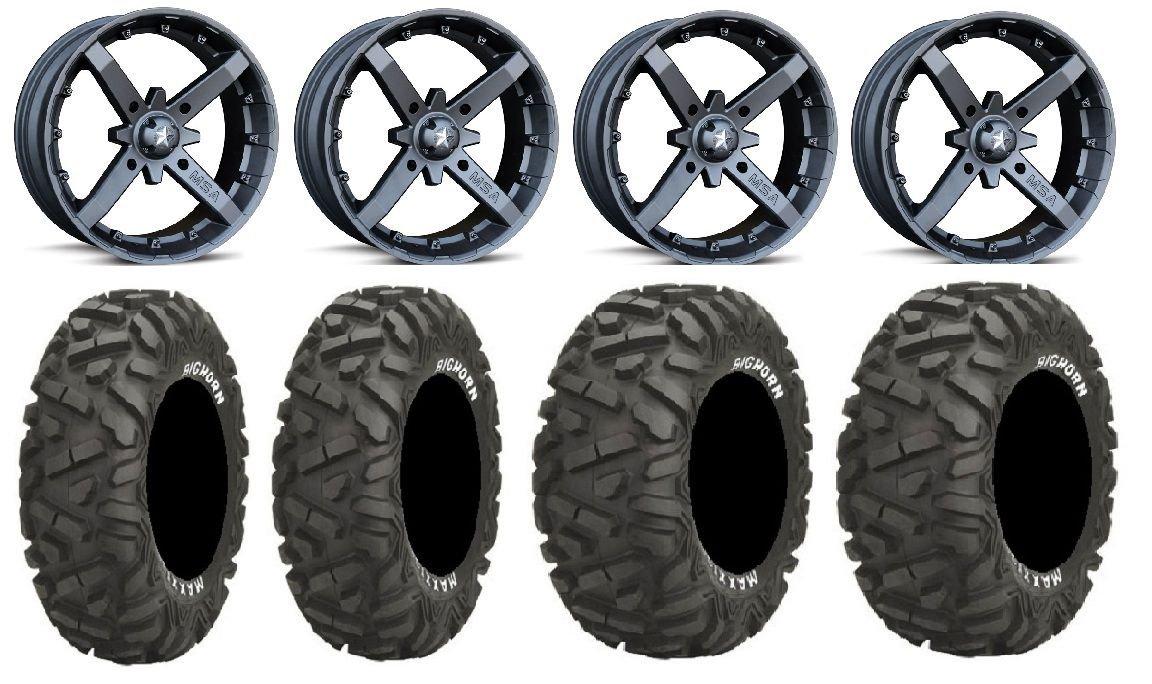 "Bundle - 9 Items: MSA Black Battle 14"" ATV Wheels 26"" BigHorn Tires [4x137 Bolt Pattern 12mmx1.25 Lug Kit]"