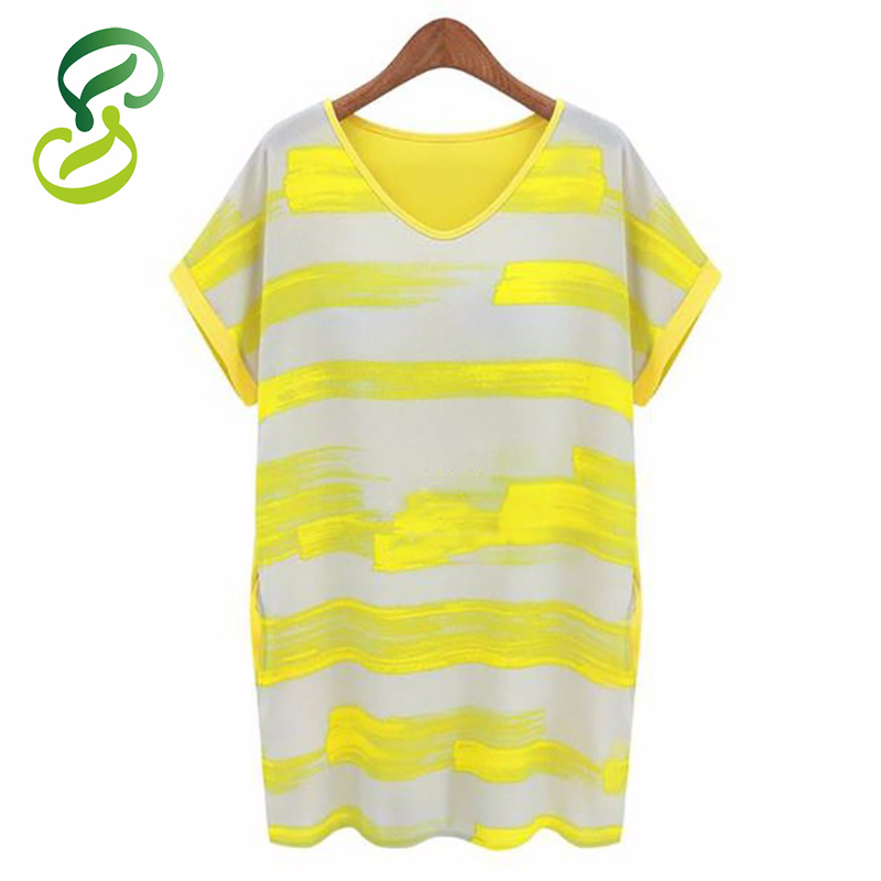 2015 Summer Dress Personalized Hand-Painted Women Dress V-Neck Short Summer Style Dress Plus Size S-4XL Yellow Pink Dresses