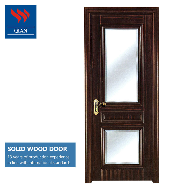Fancy Solid Core Hardwood Interior Bathroom Doors With Frosted Glass