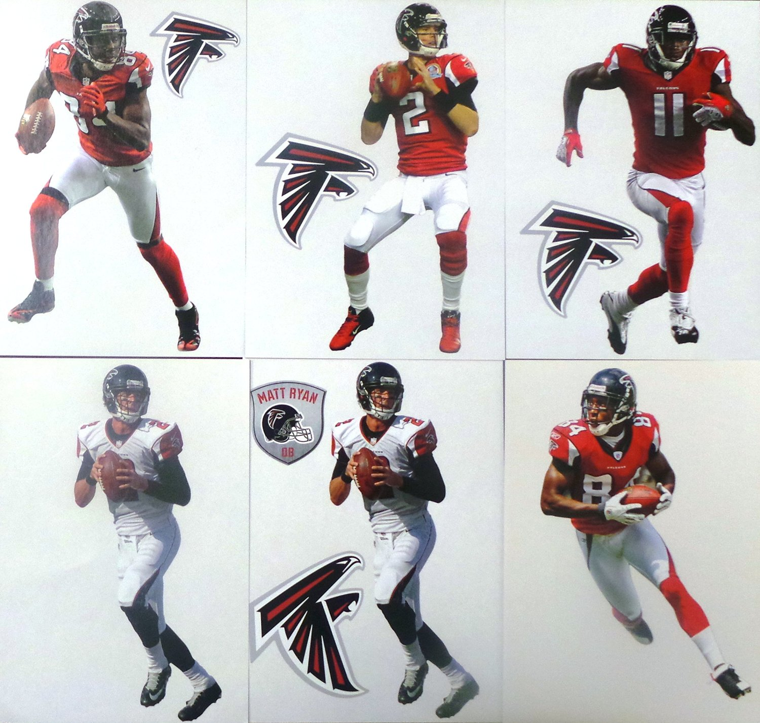 """Atlanta Falcons Mini FATHEAD Team Set of 11 Official Vinyl Wall Graphics Each Player Graphic 7"""" INCHES TALL"""