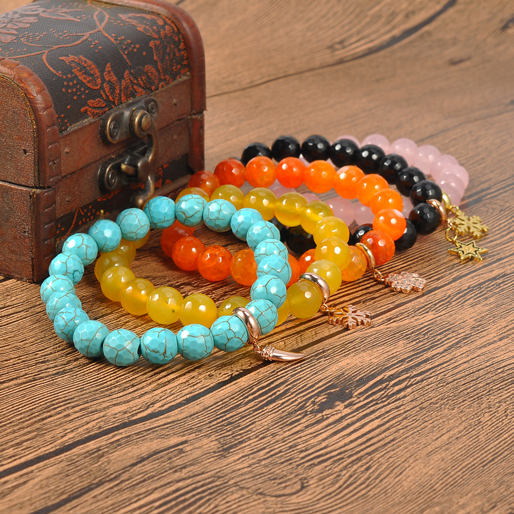 Custom Jewelry Natural Turquoise Stone Handmade Beads Bracelet