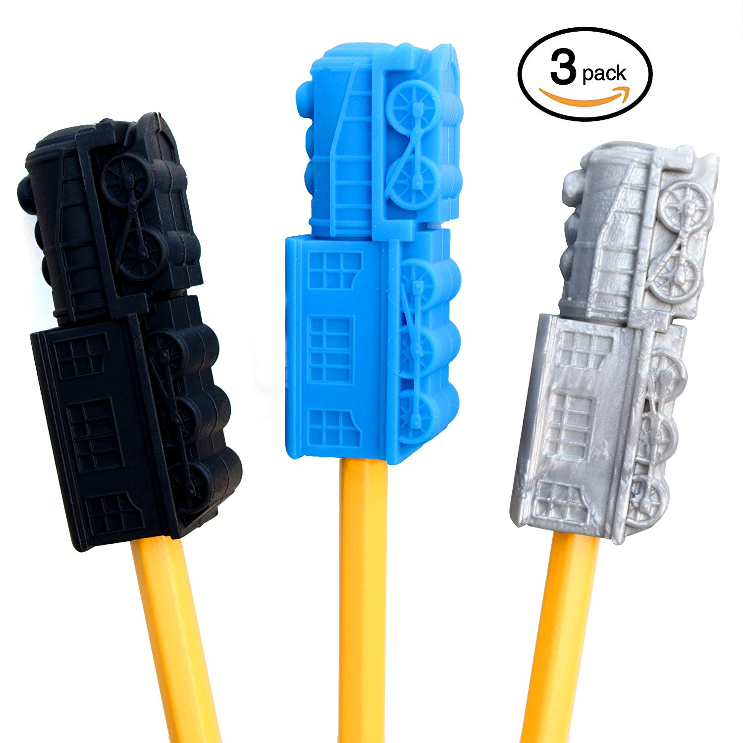 GoGoChews Chewing Pencil Toppers – 3 PACK TRAIN SHAPE Sensory Chew, Oral Motor Tool, Sensory Input for Special Needs Chewers, Occupational Therapy Aid, Teething/Biting Toys (Blue/Silver/Black)