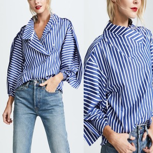Cheap China Clothing Puff Sleeve Latest Blouse Designs White Navy Stripe Loose Women Tops Blouse