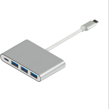 Aluminium Alloy Shell USB3.1 Type C to USB3.0*3 Hub+Type C PD Charge Hub Adapter for Apple Air Pro Chromebook Dell XPS 12/13