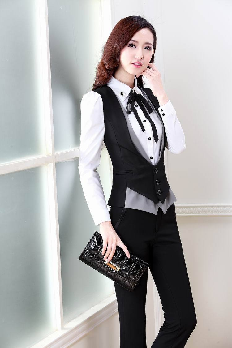 17c0679993 2019 New Plus Size 2015 Spring Autumn Novelty Grey Office Work Wear Women s  Suits With Pants Ladies Female Clothing Set Vest + Pants From Cailey