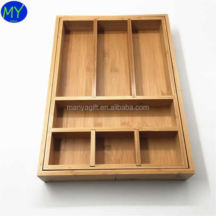 Hot selling cheap bamboo expandable utility cutlery drawer organizer gold supplier