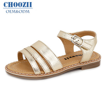 d1c6c29a0 China Summer Latest Fashion Design Girls Simple Gold PU Flat Sandals Kids