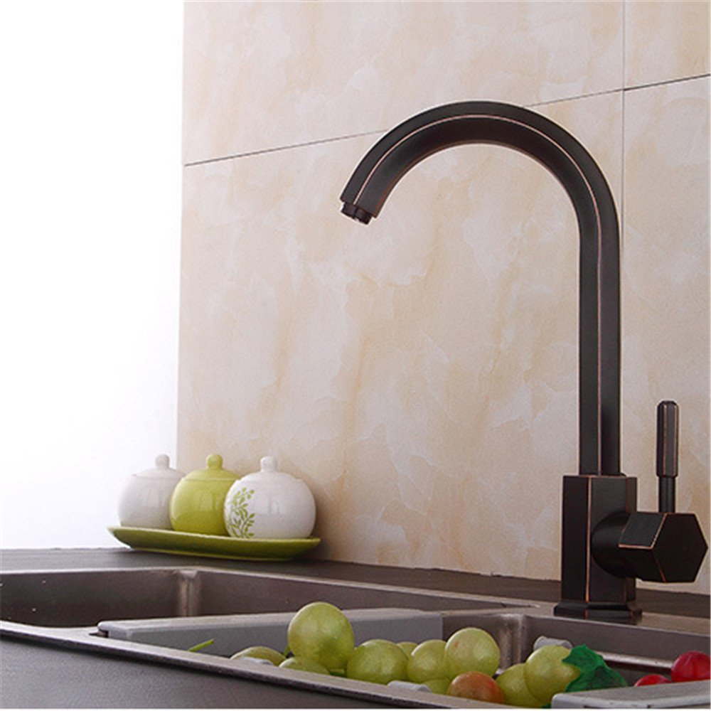 FHLYCF Kitchen faucet, dish basin, hot and cold dish, single hole antique copper basin faucet
