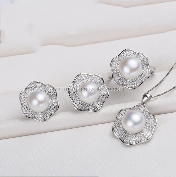 925 Silver Pearl Rhodium Plated Fake Diamonds Jewelry