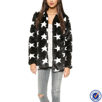 guangdong clothing manufacturers wholesale women fashion faux fur coat with contrast stars print