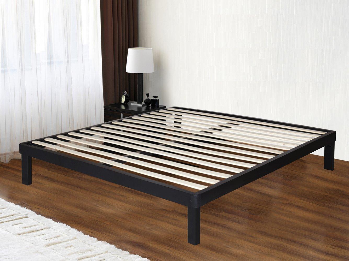 Olee Sleep 14 Inch Tall Dura Metal Wood Slat Bed Frame Matress Foundation 14BF03 (Queen)