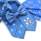 Custom Design Blue Necktie Bow Tie And Scarf Set For Gifts