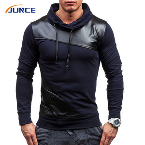 wholesale cool leather Hood Turtleneck mens t shirt long sleeve