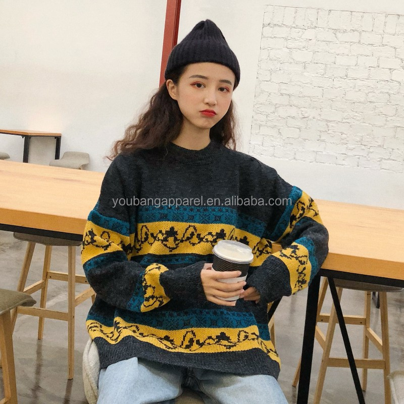 winter stylish unisex look women round neck sweaters boy jumpers lady teen oversize knitted loose pullovers teen