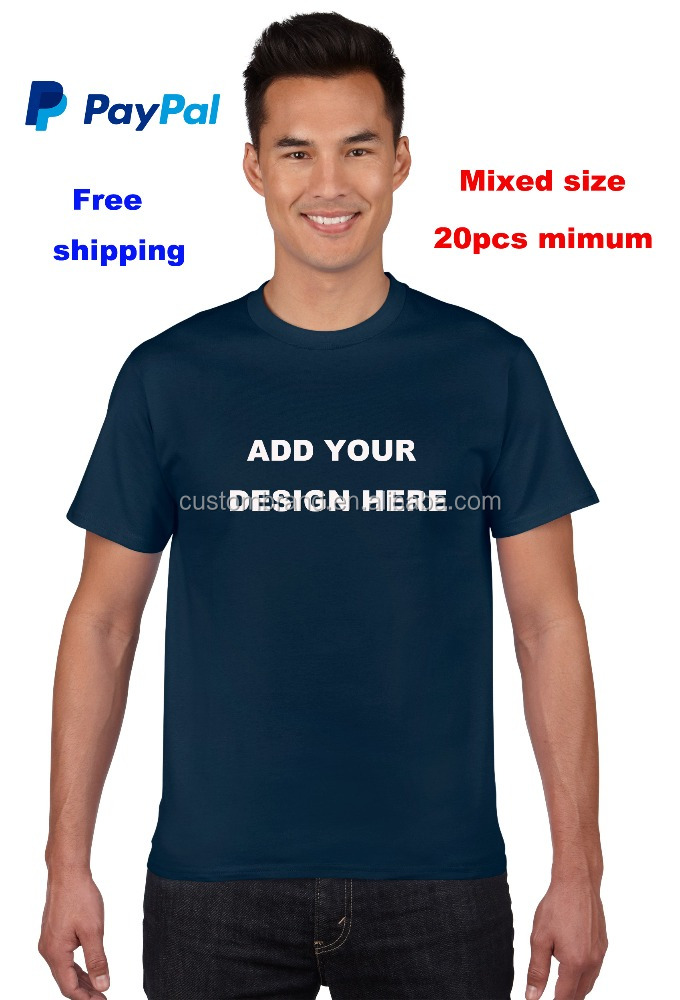 Paypal Accept Free Shipping 100% cotton O-neck short sleeves t shirt for men custom print with your design