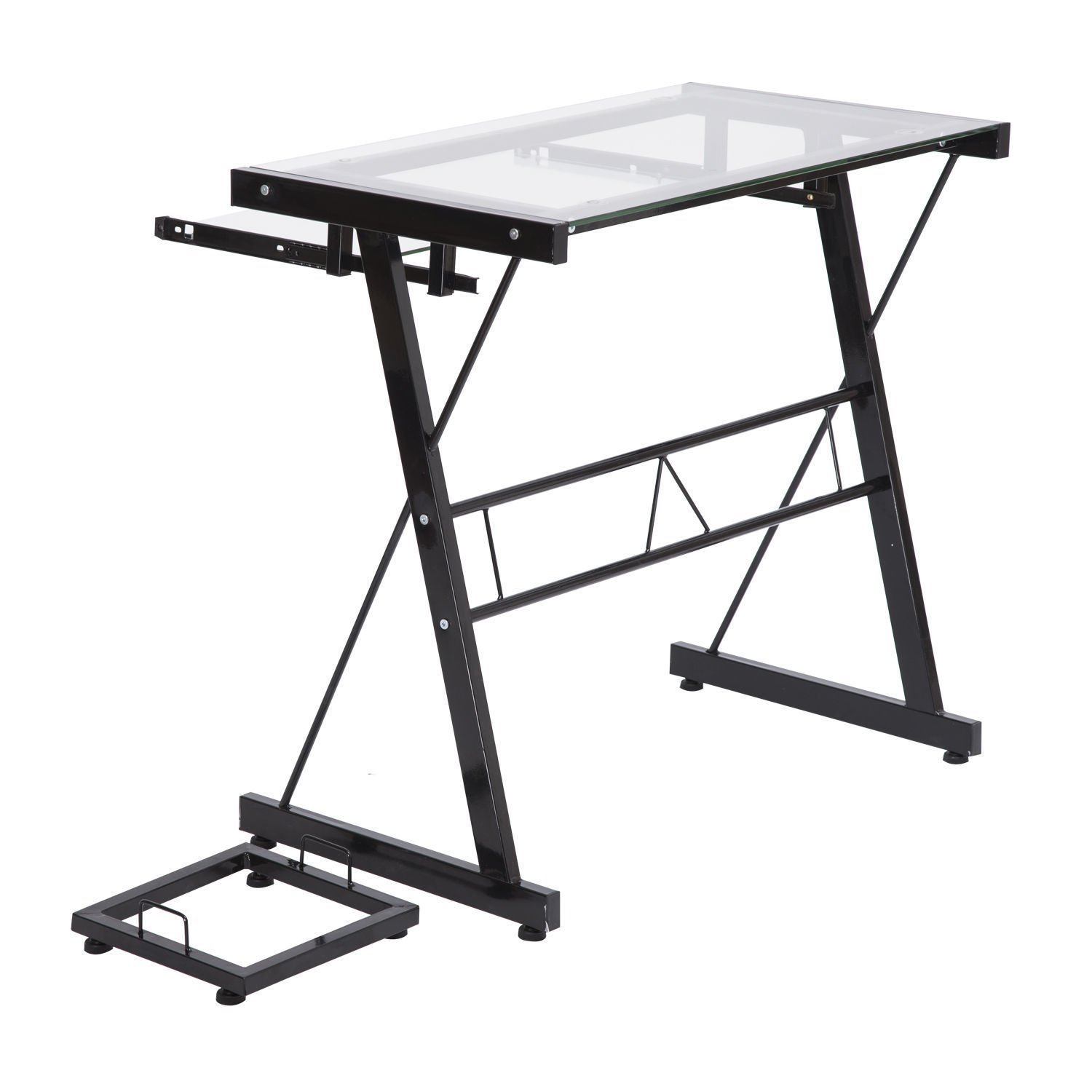 Computer Table Laptop Desk PC Stand Glass Top w/Keyboard Tray Home Office Workstation With Ebook