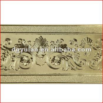 Luxury Gold Metallic Laminated Embossed Vinyl Wallpaper Borders
