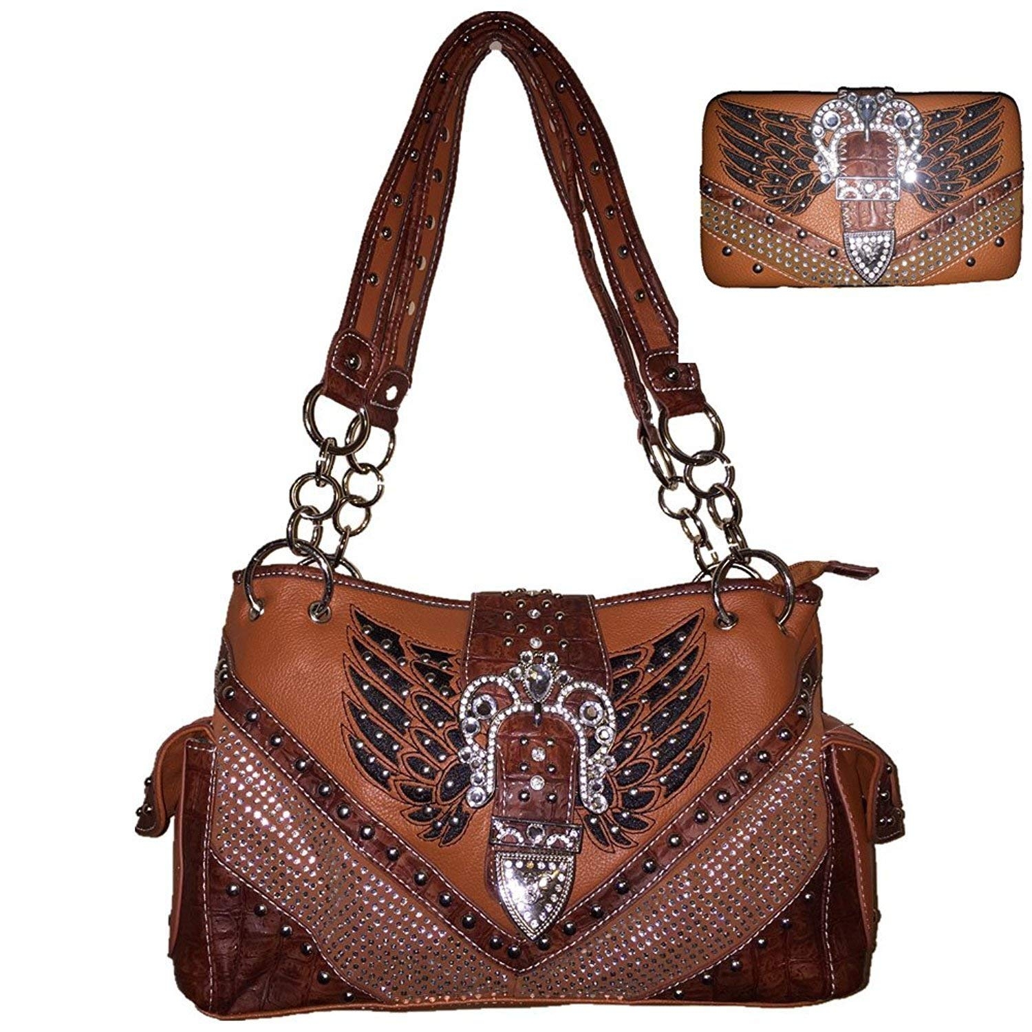 Get Quotations Rhinestone Buckle Angel Wings Shoulder Handbag Purse And Matching Wallet In Tan