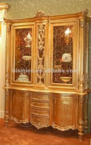 Luxury home buffet & hutch,classical golden display cabinet,wooden hand carving(B50825)