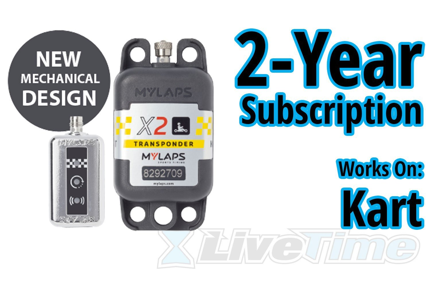 MyLaps X2 Transponder, Rechargeable, for Karting, includes 2-Year Subscription